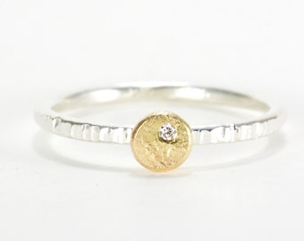 Women's Wedding / Engagement Ring -- recycled silver, 18K gold and diamond