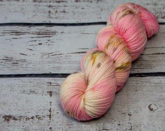 Cotton Candy Sprinkles - Hand dyed DK yarn, merino, pink, yellow, grey, speckles, dk yarn, variegated