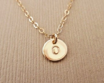 Tiny Initial Disc Necklace, 14kt Gold Filled, Gold Inital Disc Necklace, Hand Stamped Initial, Monogram Initial Necklace, Personalized Disc