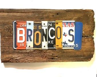 BRONCOS football NFL sports upcycled license plate art sign orange navy blue tomboyART tomboy art