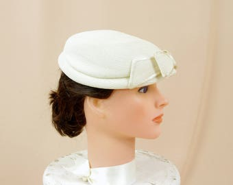 1960s Hat, Cream Pillbox Hat, Mad Men Hat, Atomic Hat, Straw Hat, 60s Hat, Mod Hat, Retro Hat