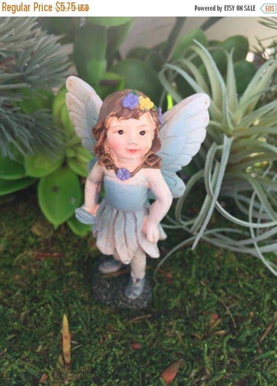 SALE Fairy Figurine, Mini Fairy With Blue Ombre Flower Dress, Blue Wings, Fairy Garden Accessory, Miniature Gardening, Home & Garden Decor