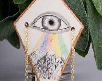 Eye Necklace, Air Dry Clay Jewelry, Mountains Pencil Drawing, Ceramic Pendant, Modern, Boho Chic, Halskette, Tribal, Geometric, Rhombus, Art
