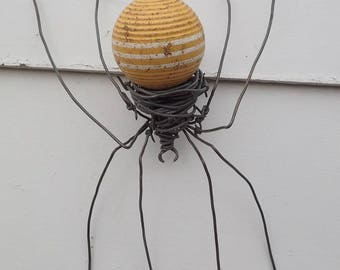 Old Yellow CroquetteBall  Barbed Wire Spider Repurposed  Art