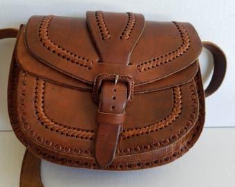 Vintage Brown Leather Boho Bohemian Stitched Shoulder Crossbody Bag Purse