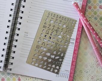 Bullet Journal Stencil - Planner Stencil - Journal Stencils - Stencil Template - Filofax Stencil - Metal Stencil - Number - Ready to Ship