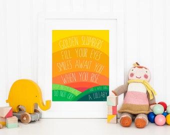 The Beatles Golden Slumbers Printable Art - Nursery Art - Lullaby - Kids Room Art - Rainbow Art Print - 8x10 - Home Decor