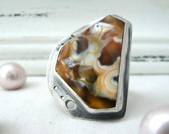 Oxidized Sterling Silver Ring with a Fossil Coral Gemstone - Jewelry 925 - Size 7