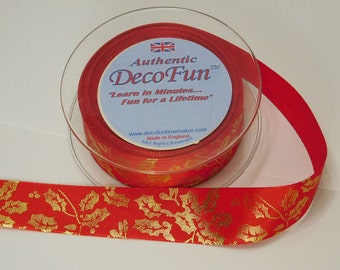 Red GROSGRAIN Ribbon Gold HOLLY Print  1 inch, 5 yd roll, Woven Edge,