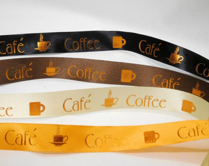 Coffee Satin Ribbon Collection 1 inch width, non-fray cut edge SALE 75 ft Charles Clay Nature's Choice Biodegradable Ribbon, Made in England
