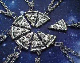 Pizza Slice Friendship Necklace, Silver pizza necklace, sold per 1 slice