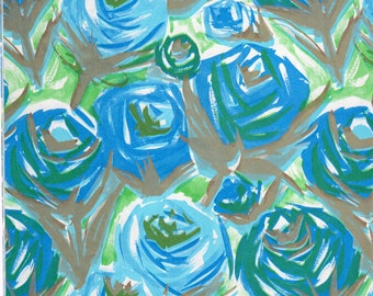 Vintage Wrapping Paper - Blue & Gold Roses - All Occasions Giftwrap