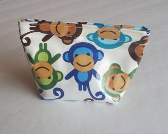 Colorful Monkey Laminated Cotton Reusable Snack Bag-Small, Back to School, Kids Lunches,Lunch Bag, Monkey Print,Wipe Clean, Food Safe Lining