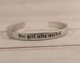 The Girl Who Waited - Doctor Who inspired Cuff Bracelet - pure aluminum, copper, brass or sterling silver - dr who - amy pond - fandom cuff