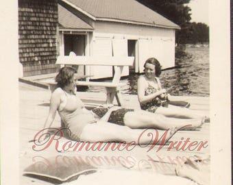 Bathing Beauties at Lake Sunapee Vintage Photo Girls Bathing Suits