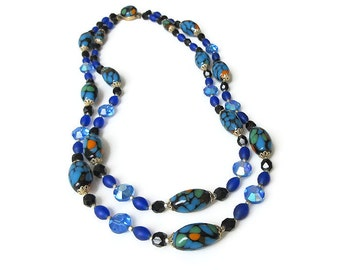 Vinage Murano Venetian Glass Bead Necklace Made in Japan - Cobalt Blue, Aurora Borealis, Japanese Jewelry, Vintage Necklace