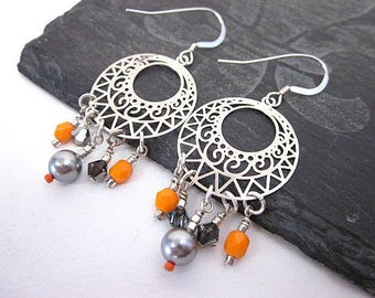 Bead Dangle Hoops -- Disc Bead Earrings -- Go Go Earrings -- Orange Bead Hoop Earrings -- Orange & Grey Earrings -- Orange Accent Earrings