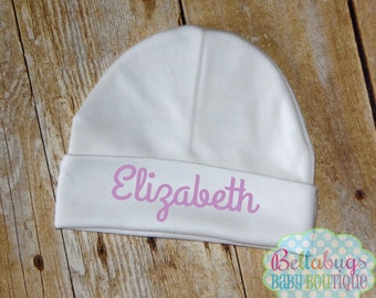 Newborn Hat Personalized - Size 0-6M - Newborn Baby - Baby Shower - New Baby - You choose color name
