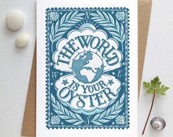 Oyster Card | Graduation Card | Grad Card | 18th Birthday Card | 21st Birthday Card | Leaving Card | Bon Voyage Card | World is Your Oyster