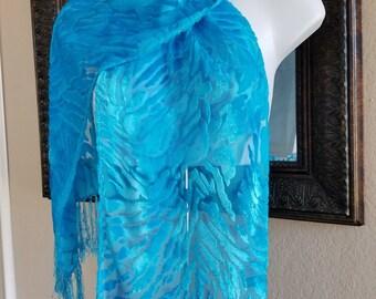 Turquoise Silk Scarf Hand painted Silk Scarf Designer Handpainted Silk and Velvet Shawl with fringe Turquoise Scarf Gift wedding Rosannasilk
