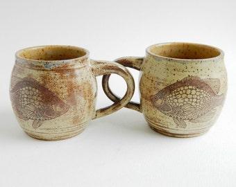 Pair of Khaki Brown Fish Mugs - 12 oz, coffee, tea, tan, brown, coffee mug, coffee cup, tea