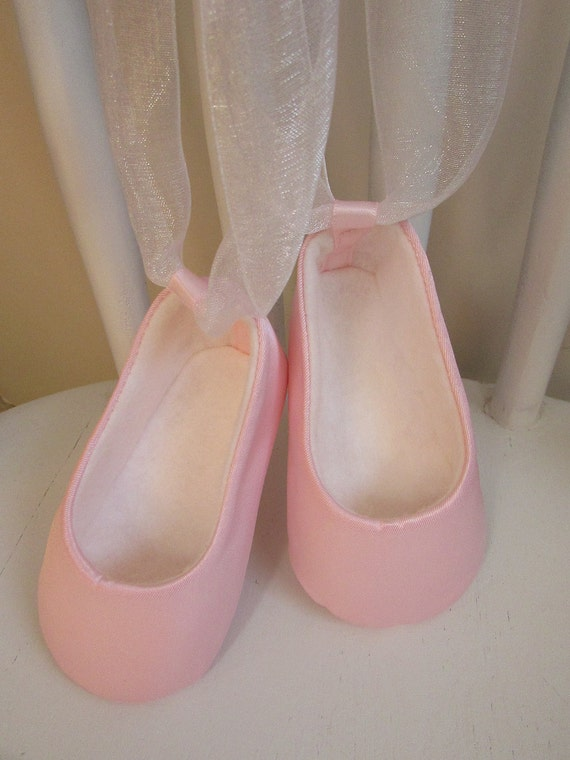 Baby Ballerina Slippers . Baby Girl Dance Shoes . Pink Satin Dress Shoes . Infant Newborn Ballet Slippers . White Organdy Ribbon Ties