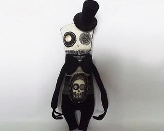 Victorian Doll Soft Sculpture Art Doll Creepy Cute Gothic Steampunk Doll