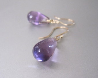 Smooth Amethyst Drops Solid 14k Gold Earrings