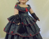 Christmas Rose evening dress, Christmas gown, ballgown, christmas dress, Southern Belle, Civil War, 1850 gown for your American Girl doll