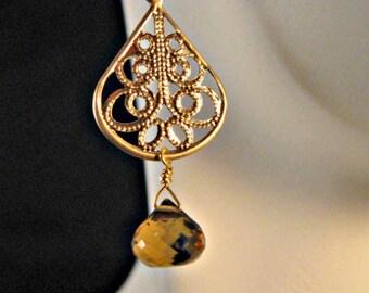 Whiskey Quartz earrings,Quartz earrings,drop earrings,dangle earrings,filigree earrings,gemstone earrings,gemstone jewelry,gold earrings