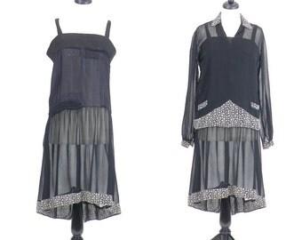 1920s Day Dress, Vintage 20s Dress, Art Deco Dress, Sheer Black and White Floral Dress