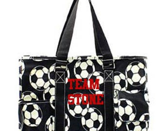 Personalized soccer sport pocket utility tote