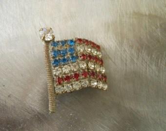 Vintage American flag rhinestone clip earring manufacturer sample