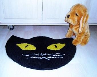Black Cat Door Mat, Black Cat Doormat, Knit Doormat, Knit Door Mat, Black Cat Knit Mat, Hand Knit Mat, Black Cat Decor, Cat Lover Gift