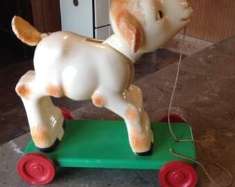 Vintage Knickerbocker Easter Lamb Pull Toy Hard Plastic
