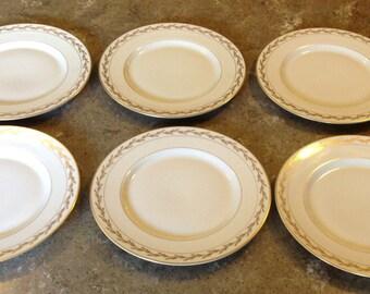 Franciscan Gold Leaf Elegant BEVERLY China Pattern Bread Dessert Plate Set of 6 Elegant Mid Century