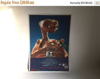 """Vintage 1980's E.T. The Extra-Terrestrial with Plant Movie 3 Dimensional Large Plastic Video Cassette Promotional Poster - 27.5"""" x 19.5"""""""