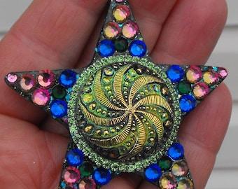 Curiosity, shining star, czech glass, rhinestones, sparkle, rainbow, faerie, elf, forest, woodland, magic, fantasy, festival, dance, cosplay