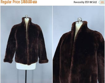 SALE - 1950s Fur Coat / Chocolate Brown / Winter Wedding / Mid-Century Mad Men / Sheared Lamb Mouton