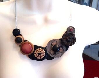 Bold Asymmetrical button necklace