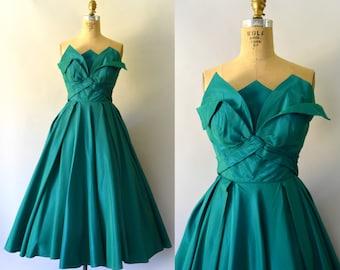 1950s Vintage Dress - 50s Teal Green Taffeta Tea Length Formal