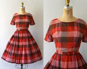 1950s Vintage Dress  - 50s Red Check Cotton Dress