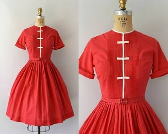 Vintage 1950s Dress - 50s Red Cotton Day Dress - Bobbie Brooks XS