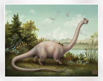 The Acatosaurus- Limited Edition signed numbered 11x14 Pop Surrealism Fine Art Print - by Mab Graves -unframed