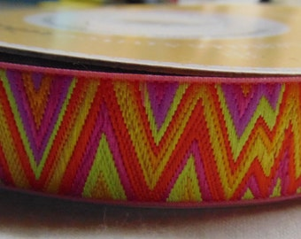 "Kaffe Fassett Renaissance Ribbon by the Yard 7/8"" Wide Flame Stitch Orange, Pink, Lime, Embroidered Ribbon, Patterned Ribbon"