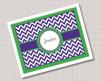Custom Green & Purple Chevron Note Cards