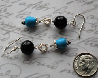 Onyx and Turquoise Magnesite with Sterling Silver Earrings