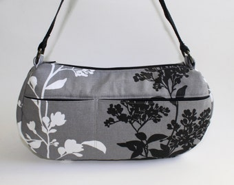 Medium Shoulder Bag in Gray with Black and White Branch Blossoms