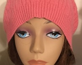A16  coral cashmere thin hat felted cashmere beanie hat with cable knit pattern soft protection warm light weight hat upcycled cas