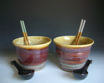 Hand thrown stoneware pottery ramen bowls set of 2 (RB-12)